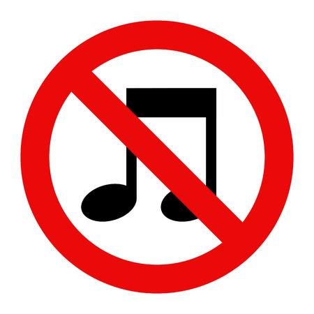 noiseless: No music sign isolated on white background