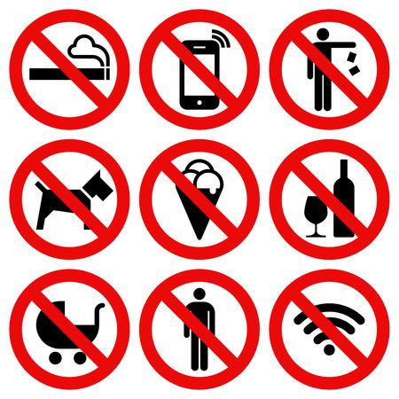 Set van Verboden No Stop teken geïsoleerd op een witte achtergrond