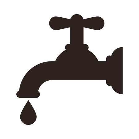 economize: Water tap icon isolated on white background