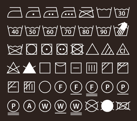 clothes washer: Set of washing symbols (Laundry icons) on dark  background