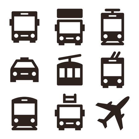 transport truck: Public transport icons - bus, truck, streetcar, taxi, ropeway, trolley bus, train, fire truck and plane Illustration