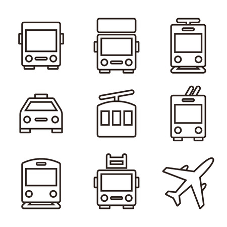 streetcar: Public transport icons - bus, truck, streetcar, taxi, ropeway, trolley bus, train, fire truck and plane Illustration