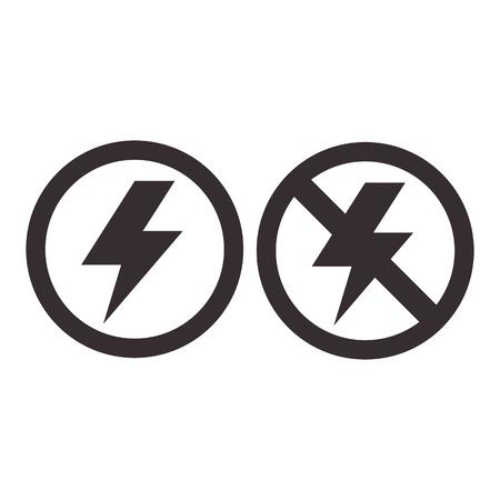 electrocute: Lightning and no lightning icon isolated on white background