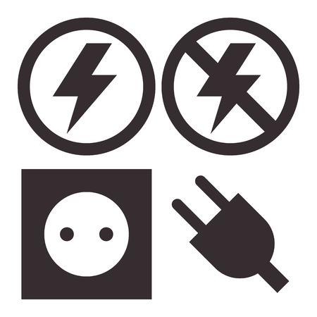plug socket: Plug, socket, lightning and no lightning icons isolated on white background
