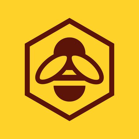 abeja: Abeja y panal icono sobre fondo amarillo Vectores