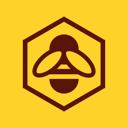 bumble bee: Bee and honeycomb icon on yellow background