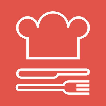 Chapeau de chef, fourchette et couteau. Restaurant et symbole de la gastronomie