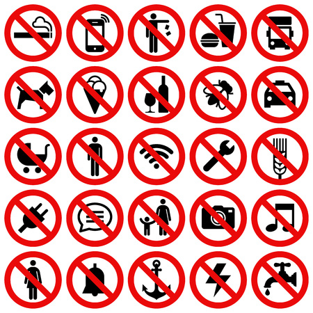Set of interdite Non Stop Sign isolé sur fond blanc Banque d'images - 69425775