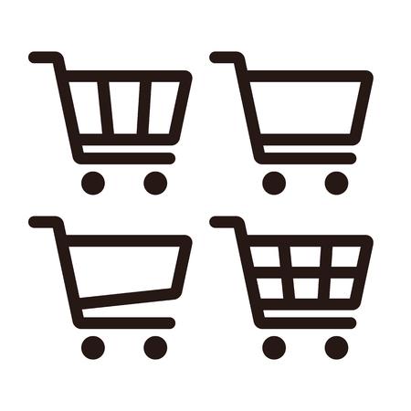 Shopping Cart Icon Set isolated on white background