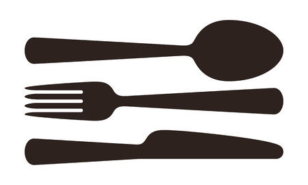 Spoon, fork and knife sign isolated on white background Illustration