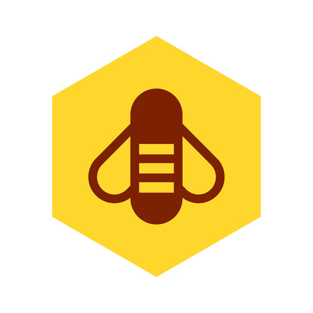 Bee icon enclosed in yellow hexagon and isolated on white background