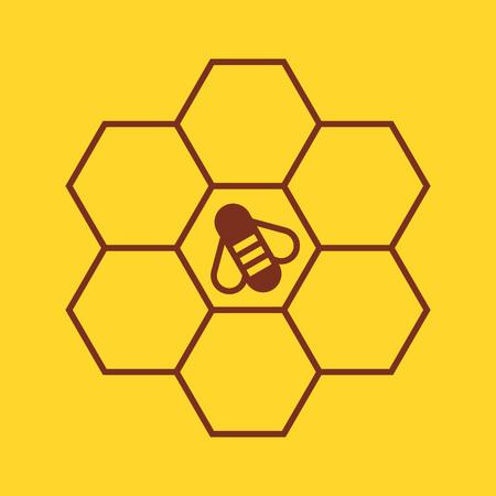 黄色の背景にハニカムに蜂  イラスト・ベクター素材