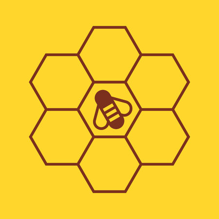 Bee on honeycombs on yellow background Illustration