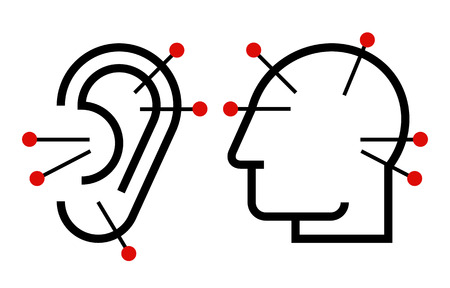 ear acupuncture: Ear and head acupuncture illustration