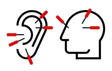 Oor en hoofd acupunctuur illustratie