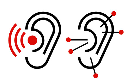 ear acupuncture: Ear acupuncture and hearing aid icon. Illustration