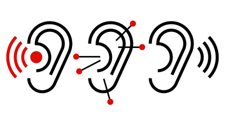 Ear, acupuncture and hearing aid icon.