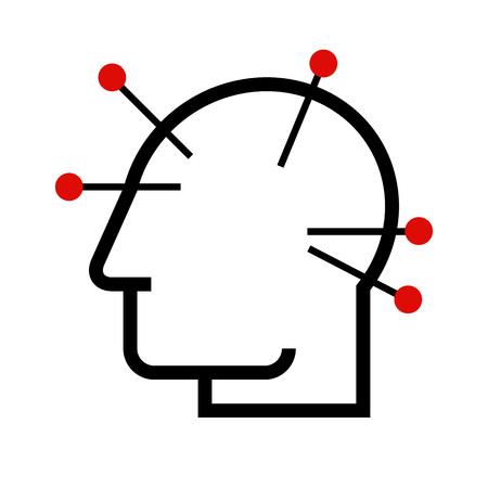 Hoofd acupunctuur illustratie.
