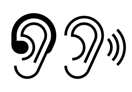 Hearing aid and ear icon.