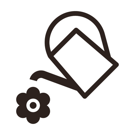 Watering can and flower symbol isolated on white background Illustration