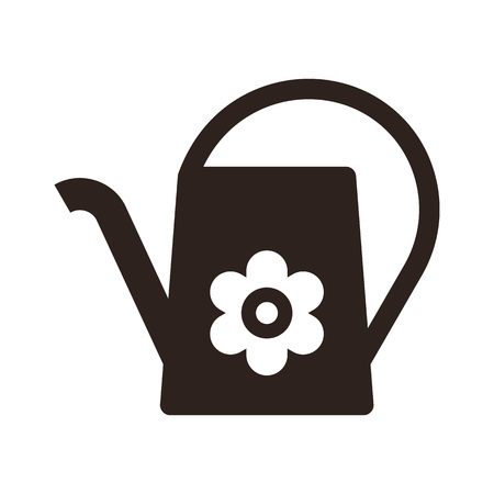 Watering can and flower symbol isolated on white background Ilustrace