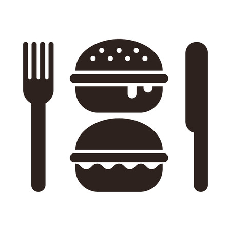 Burgers, knife and fork for Fast food symbol isolated white background