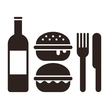 Burgers, knife, fork and bottle. Fast food symbol, isolated white background.