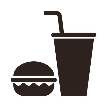 Fast food illustration. Burger and drink icon, isolated on white background. Ilustração