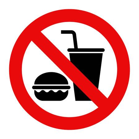 Bez jedzenia i. napoje nie są dozwolone. Pojedynczo na białym tle. Ilustracje wektorowe