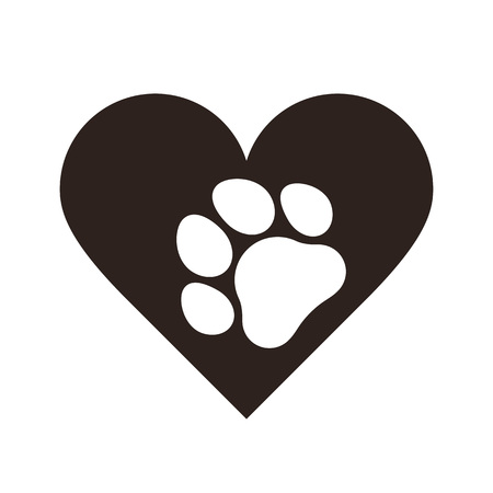 Pet paw print in heart isolated on white background