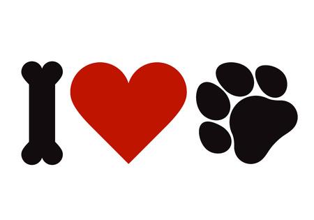 Kocham symbol zwierząt domowych na białym tle