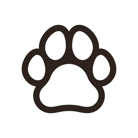 Paw print icon isolated on white background