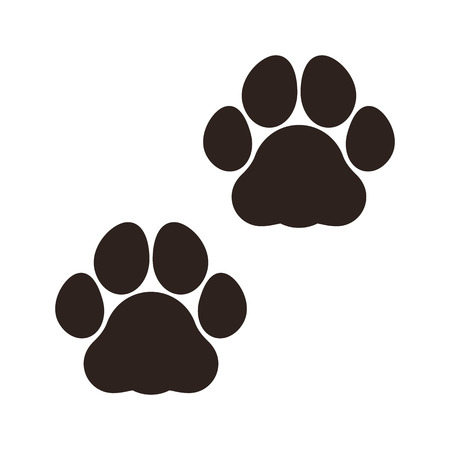 Paw prints sign isolated on white background