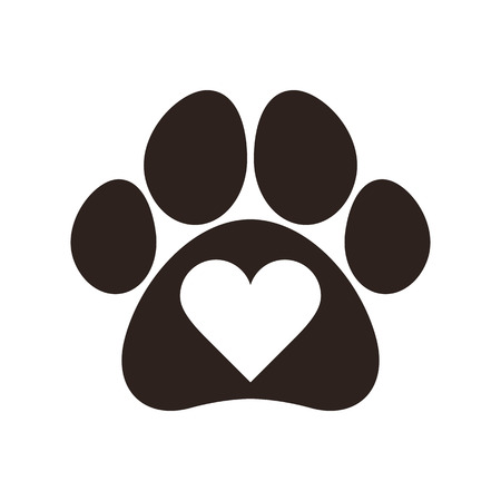 Paw print with heart isolated on white background Ilustração
