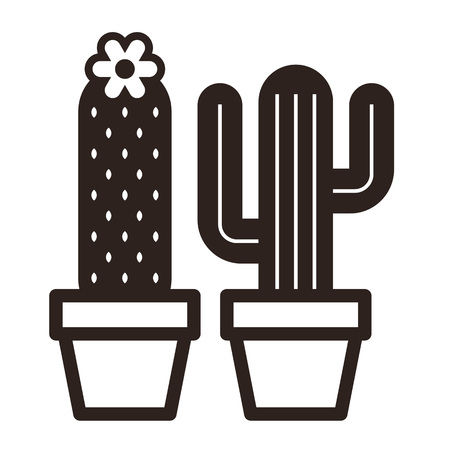 Cactus in pot set isolated on white background