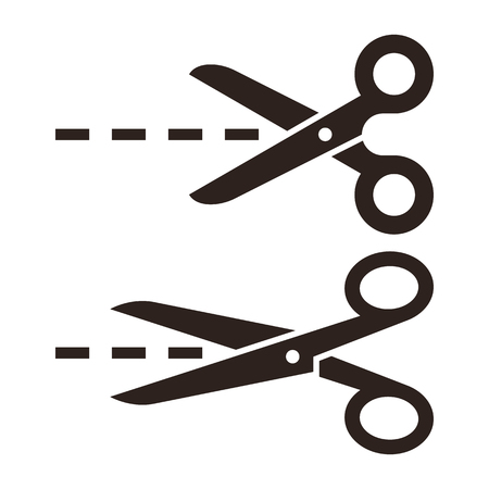 Vector scissors with cut lines. Set of cutting scissors