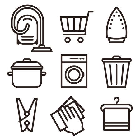 Vacuum Cleaner, Shopping Cart, Iron, Kitchen Pot, Washing Machine, Trash Bin, Wipe Dust, Clothes Peg, Hanger Icon Set isolated on white background
