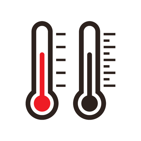 Thermometer icon set isolated on the white background Illustration