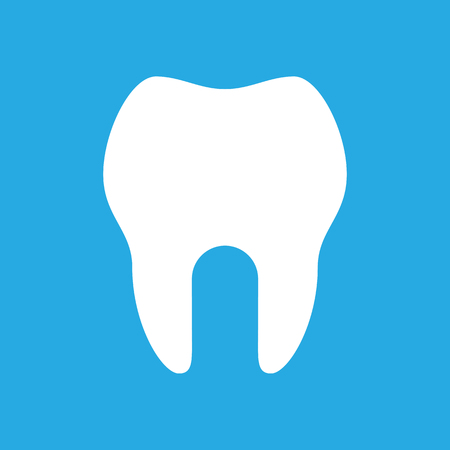 Tooth icon on blue background