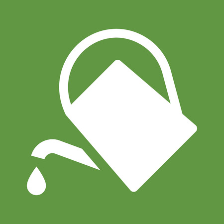 Watering can icon isolated on green background Ilustração