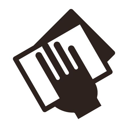 Handabwischen mit einem Tuchsymbol. Wischstaubsymbol isoliert auf weißem Hintergrund