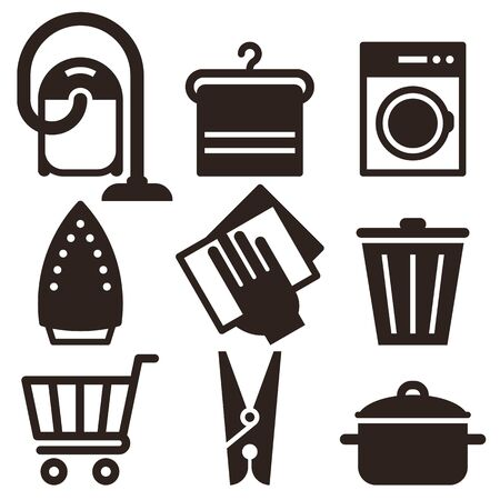Vacuum Cleaner, Hanger, Washing Machine, Iron, Wipe Dust, Trash Bin, Shopping Cart, Clothes Peg,  Kitchen Pot Icon Set isolated on white background 일러스트