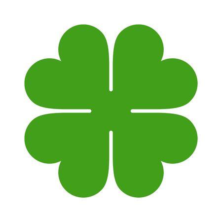 Icona del quadrifoglio. Simbolo di San Patrizio isolato su sfondo bianco Vettoriali