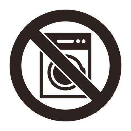 No washing machine sign isolated on white background