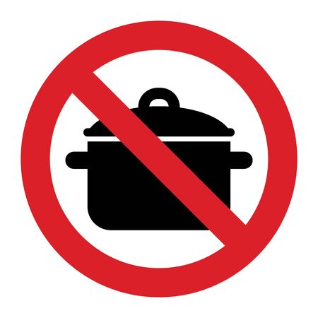 No Cooking pan sign isolated on white background