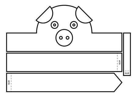 Bandeau à colorier cochon. Couronne de papier bricolage
