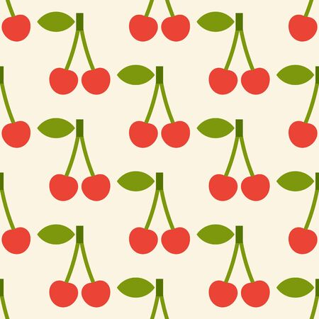 Cherry pattern. Fruit seamless background with cherries