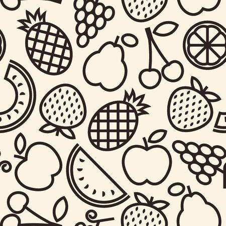 Fruits pattern. Seamless background with pineapple, grapes, apple, pear, cherry, quince, strawberry, melon, lemon and watermelon