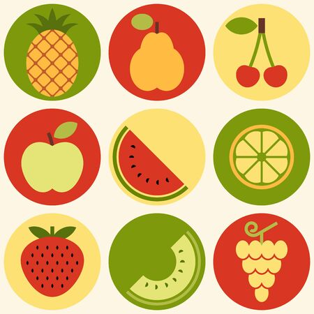 Fruits icon set - grapes, apple, pear, cherry, quince, strawberry, melon, lemon and watermelon isolated on white background Ilustração