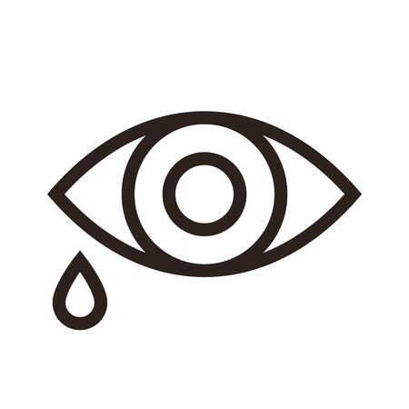 Eye and tear icon isolated on white background